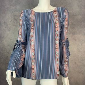 Lauren Conrad bell sleeves blouse striped blue  L